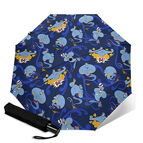 Paraguas plegables Aladdin Magic Lamp Paraguas automatización Portátil de tres pliegues, compacto y Portátil plegable cortavientos, impermeable y anti-UV