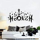 NSRJDSYT Etiqueta de la Pared de la cachimba Shisha Fumar Tabaco árabe salón decoración Interior Vinilo Ventana Pegatinas Hombre Cueva Arte Letras Mural 57x30cm
