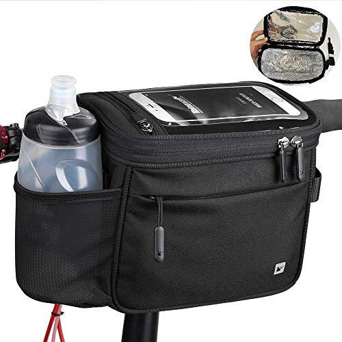 Asvert Fahrrad Lenkertaschen Multifunktion Wasserdicht Fahrradtasche mit Aluminiumfolie Isolationsschicht,Warm halten Kalt bleiben fur MTB (Schwarz+Wärmeisoliert)
