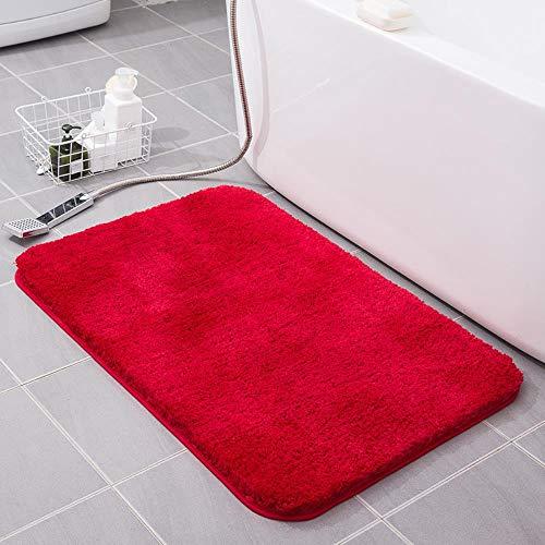 FRGTHYJ Verdikte hoge fleece nachtkastje badkamer absorberend antislip mat tapijt, rood, 45 * 70cm
