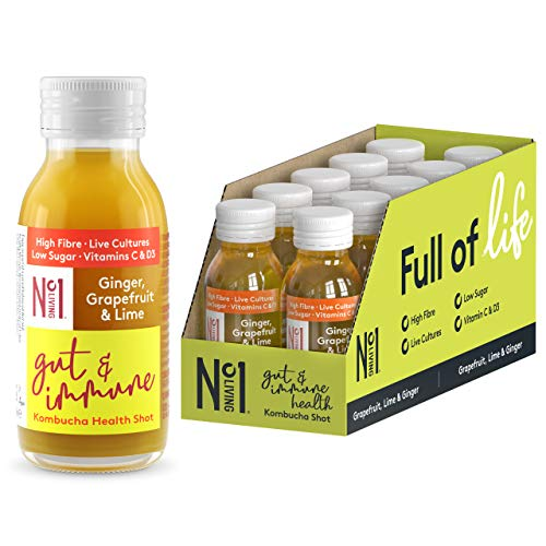 No.1 Living Kombucha Health Shots - Ginger, Grapefruit & Lime - 10 x 60ml Bottles - High Fibre, Live Cultures, Low Sugar, 100% Natural, Vegan - Supporting Gut & Immune Health
