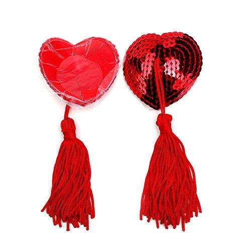 Demarkt Heart Pasties Women Lingerie Tassel Pasties Stickers Breast Bra Nipple Cover (Red)