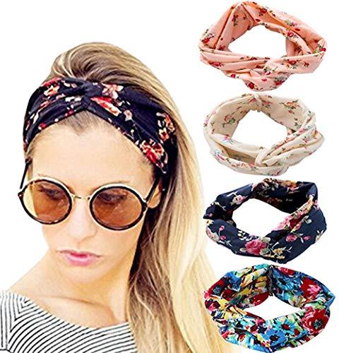 Sgualie 4 Pack Headbands Elastic Criss Cross Head Wrap Hair Band Cute Hair Accessorie,Pink White Navy Blue