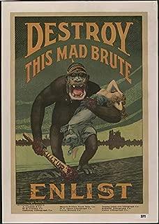 HistoricalFindings Photo: Destroy This mad Brute Enlist,U.S. Army,Propoganda,c1917,World War I,WWI