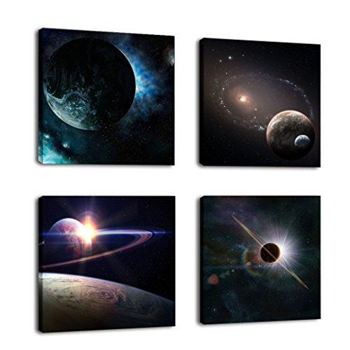 cufun Art – Weltall Planet Painting Kunstdruck auf Leinwand Wand Dekoration Holzrahmen 4-teiliges Set, holz, merhfarbig, 30 x 30 cm