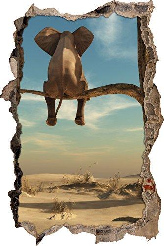 Stil.Zeit sitzender Elefant auf einem AST in der Wüste Wanddurchbruch im 3D-Look, Wand- oder Türaufkleber Format: 92x62cm, Wandsticker, Wandtattoo, Wanddekoration