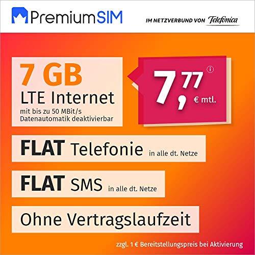 Handyvertrag PremiumSIM LTE L - ohne Vertragslaufzeit (FLAT Internet 7 GB LTE mit max. 50 MBit/s mit deaktivierbarer Datenautomatik, FLAT Telefonie, FLAT SMS und EU-Ausland 7,77 Euro/Monat)