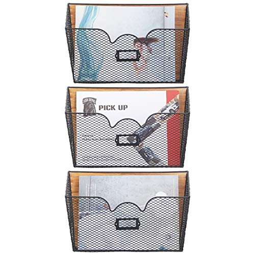 Butizone Hanging Wall Files Holder 3 Pockets Stackable Mail Organizer Decorative Metal and Wood Folder Magazine Rack with Tag Slot for Office and Home Black