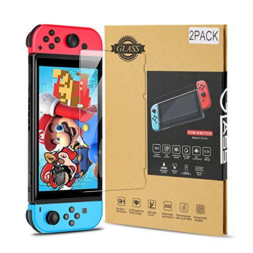 AuyKoo Schutzfolie Gehärtetes Glas Folie für den Displayschutz Nintendo Switch [2 Stück] 9H Härte-Schalter Spieleschutzfolien-Zubehör
