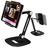 B-Land Adjustable Tablet Stand, Desktop Tablet Holder Mount Foldable Phone Stand with 360° Swivel Phone Clamp Mount Holder, Compatible with 4-13' Tablets/Phones,Nintendo Switch, Kindle