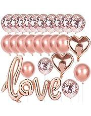 O-Kinee Love ballong roséguld bröllopsballong, XXL kärlek hjärta folieballong konfettiballonger rosa guld set för bröllop alla hjärtans dag JGA dekoration möhippa dekoration