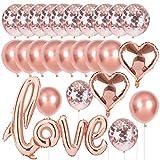 O-Kinee Love Luftballon Roségold Hochzeit Ballon, XXL Love Herz Folienballon Konfetti Ballons Rose Gold Set für Hochzeit Valentinstag JGA Deko Junggesellinnenabschied Dekoration