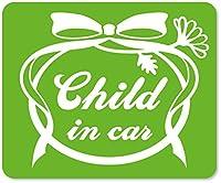 imoninn CHILD in car ステッカー 【マグネットタイプ】 No.29 お花リボン (黄緑色)