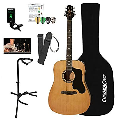 Sawtooth Acoustic Dreadnought Guitar with ChromaCast Accessories