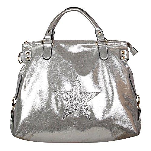 Borsa a tracolla borsa delle signore Stella Stella Jeans bag Applicazione Tela antico signore guardano con stelle