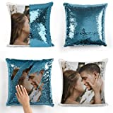 Personalised Blue Sequin Cushion Cover Magic Reveal Photo Printed Gift Custom Pillow (Blue, Without Pillow)