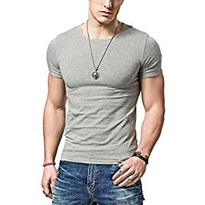 XDIAN メンズ 半袖T シャツ 男性クルーネック スリム T-shirtタイトフィットネス動きコットン半袖服