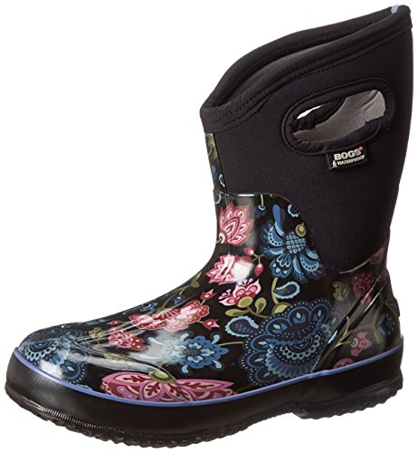 Bogs Women's Classic Mid Winter Blooms Waterproof Insulated Boot, Black Multi,10 M US