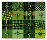 Ambesonne Irish Mouse Pad, Patchwork Style St. Patrick's Day Themed Celtic Quilt Cultural Checkered Clovers, Rectangle Non-Slip Rubber Mousepad, Standard Size, Green Orange