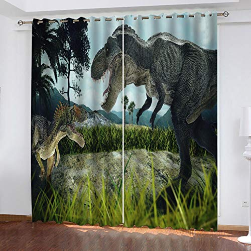 ZXPAG Blackout Curtains Pencil Pleat - 3D Digital Printing Printed Soft Thermal Insulation Energy-Saving Curtains - Curtains In Bedroom Living Room - 92X90 Inch - Cartoon Grass Animal Dinosaur
