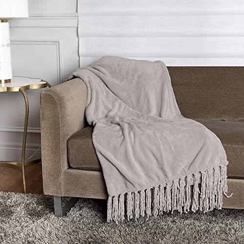 "Homexperts Super Plush 300 GSM Fringe Throw Blanket 50""x70"" 