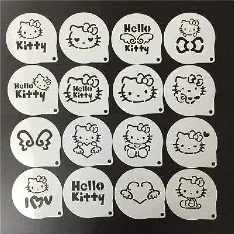 1 Lot 16Pcs Set Cartoon Latte Coffee Stencils Hello Kitty Cake Mold Fondant Cookies Baking Tools Art DIY Tools D07