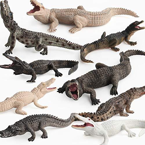 Fantarea Simulation Realistic Wild Life Jungle Animal Figures Model Figurines Crocodile Alligator Family Playset Eduactional Toys Party Playset Toys for 5 6 7 8 Years Boys Girls Toddler (9 pcs)