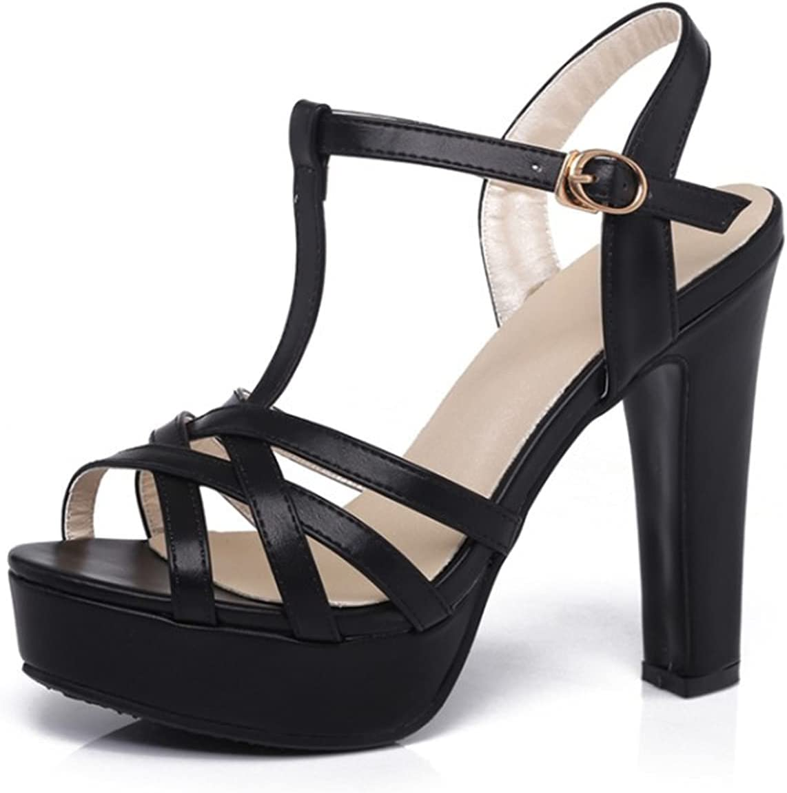 Women's Cross Ranking TOP1 Strappy High Heel Open Strap Pla Ankle Toe Sandals safety
