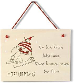 Targa natalizia regalo Natale personalizzabile in legno con pupazzo di neve