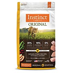 GRAIN FREE CAT FOOD WITH CAGE FREE CHICKEN: Instinct Original dry cat food is made with 81% real animal ingredients and nutritious oils, 19% vegetables, fruits and other wholesome ingredients. Responsibly sourced cage free chicken is the #1 ingredien...