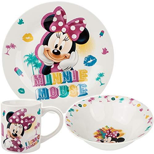 alles-meine.de GmbH 3 TLG. Geschirrset - Porzellan / Keramik - Disney - Minnie Mouse - Trinktasse + Teller + Müslischale - Kindergeschirr - Frühstücksset für Kinder - Jungen Mädc..