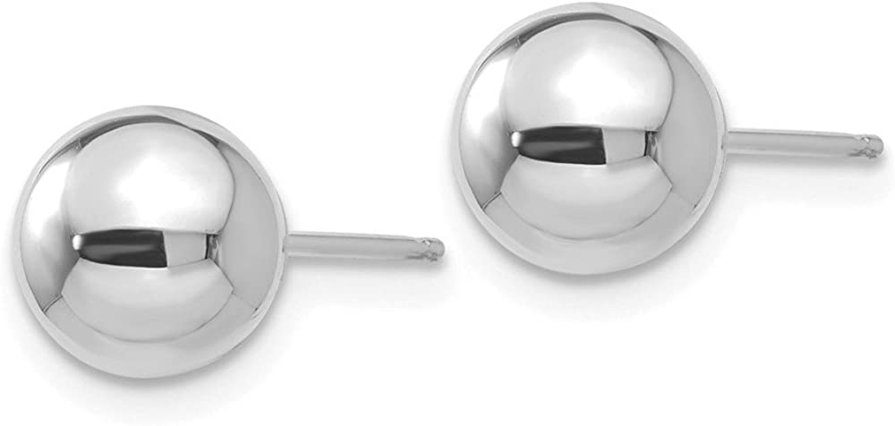 14k White Gold 7mm Ball Post Studs Earrings 7mm