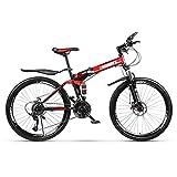 ZTIANR Bicyc Montaña De La Bicicleta, De 26 Pulgadas Duro-Cola Bicicletas De Montaña, Doble Disco De Freno Y Suspensión Delantera Tenedor 21/24/27 Velocidad Plegable,Rojo,27 Speed