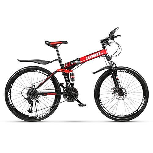 ZTIANR Bicyc Montaña De La Bicicleta, De 26 Pulgadas Duro-Cola Bicicletas De Montaña, Doble Disco De Freno Y Suspensión Delantera Tenedor 21/24/27 Velocidad Plegable,Rojo,21 Speed