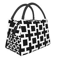 ランチボックスミールバッグポータブル断熱バッグ学校の仕事場用多機能ジッパーパッケージ、トレリス白黒