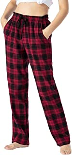 AIRIKE Pajamas for Women Loose Fit Open Legs Bottoms Cotton Comfy Loungewear Sets Lounge Bottom Plaid Pants with Pockets