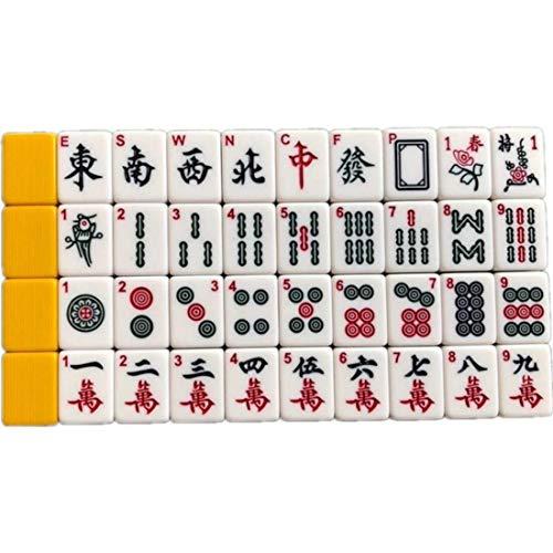 LIULAOHAN Mahjong Set, Home Travel Portable 144 Yellow Melamine Mahjong...
