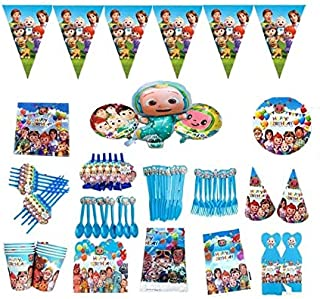 Pack of 113 pcs Coco melon party supplies birthday party for boys and girls tablecloth plates cups banner and balloons par...