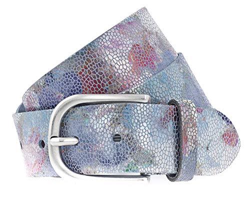 Vanzetti Damen Metallic Leder Gürtel mit floralem Print Damengürtel 40 mm Ledergürtel (100 cm, lila mix)