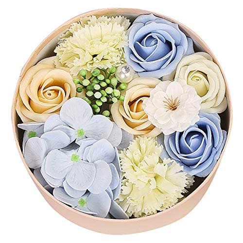 Cliramer Scented Flower Petals Bath Soap Rose Water Peony Rose Petal for Hand Washing or Luxurious Bubble Bombs - Gift Box of Shaped Decorative Soaps Bathroom (Blue)