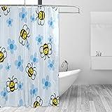 FAJRO Cartoon Bienen Polyester Duschvorhang Duschvorhang Maschinenwäsche Badezimmer Duschvorhang antibakteriell für Duschkabine, Badewannen 167,6 x 182,9 cm