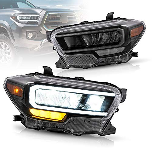 VLAND Full LED Projector Headlights Compatible for [Toyota Tacoma 2016-2019 ] Front Lamps Assembly with Welcome Light LED DRL, HI / LOW Beam Lens, Amber Side Marker Lights (set) (Reflective Bowl)