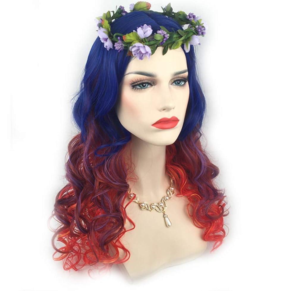 上院議員バイバイ収入かつらのかつらカラフルな長い縮毛の耐熱女性のハロウィンコスプレの頭のドレス