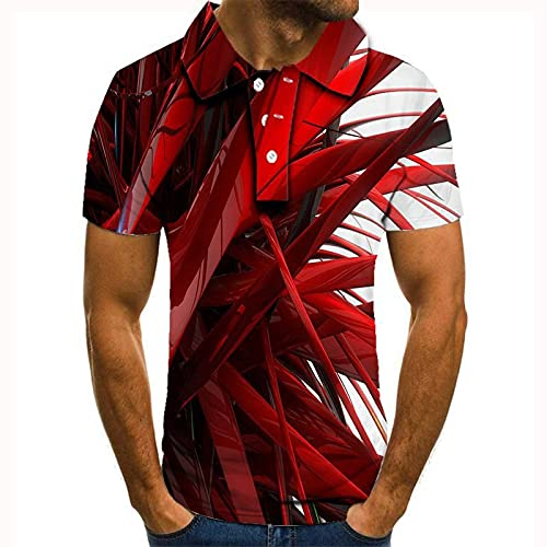 GXRGXR 3D Printed Polo Shirts - Creative Lapel Button Short Sleeve Breathable Shirt -Summer Unisex Abstract Personality Graphic Sport Plus Size T-Shirt for Men Women Tee Top,Red,3XL
