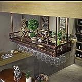 Hhh Bar Retro Creativo Colgando Estante de Vino Estante de Vidrio Bar Europeo Vino Boca Abajo Estante de Copa de Vino Perchas (Color : Bronze, Size : 80x35cm)