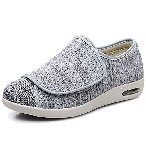 BIAJIAZHUA Pantuflas diabéticas Seniors con diseño de rayas, espuma viscoelástica cerrada, ancho ajustable, edema zapatillas con cierre de velcro (color: B, tamaño: 9.5 UK)