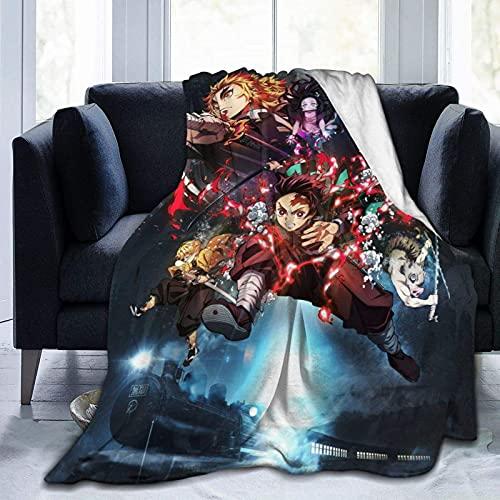 Mantas demonio asesino adultos y bebés, manta de franela de lana impresa niños suave y cálida siesta, sofá silla, sala de estar 156 x 150 cm