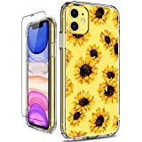 GiiKa iPhone 11 Case with Screen Protector, Clear Heavy Duty Protective Case Floral Girls Women Shockproof Hard PC Back Case with Slim TPU Bumper Cover Phone Case for iPhone 11, Sunflowers