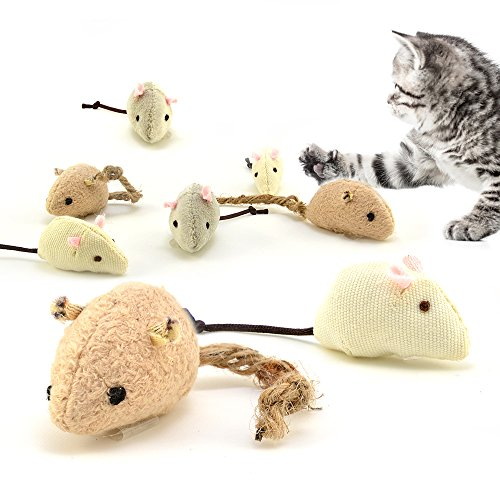 4yourpet Spielmäuse 3er Set aus natürlichen Materialien, Katzenspielzeug Set mit Katzenminze, handgemacht