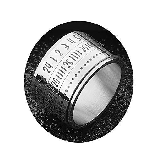 DOLOVE Herren Edelstahlring Mit Römischen Nummern Zeit Freundschaftsring Silber Ring Partner Ringe Silber Größe 62 (19.7)